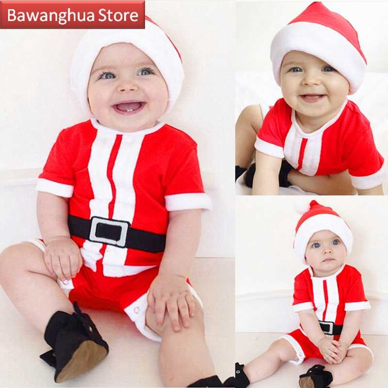 Santa Claus Christmas Costume Newborn Baby Girl Boy Clothes Xmas Belt Print Romper Jumpsuit Hat Outfits 2 Piece Set For Children