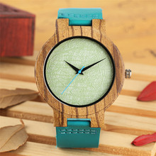 Mint Green Dial Wood Watch Men Creative Blue Leather Watch Band Natural Wooden Timepiece Simple Casual Male Wristwatches men women wooden watch creative round shape dial light wood case genuine leather band bamboo wood clock male reloj de madera top