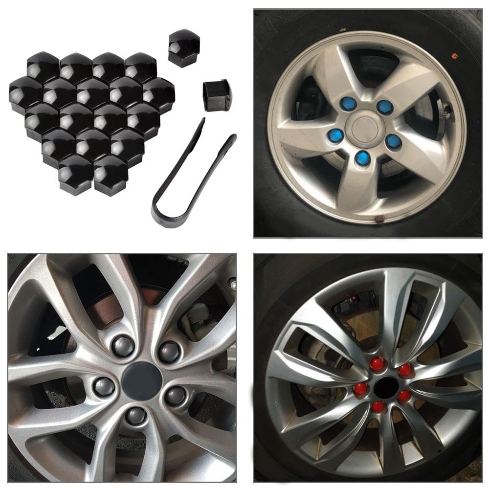 20pcs color Car Truck Wheel Tyre Hub Screw Bolt Nut 19mm Plastic Cap Accessories