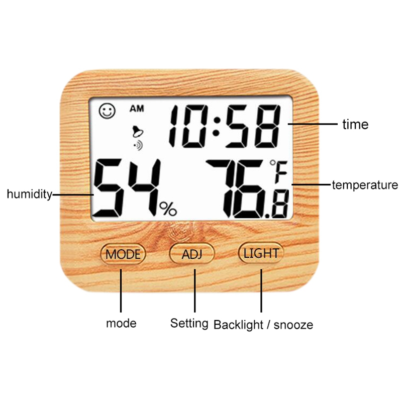 Digital Wireless Thermometer With Hygrometer Temperature Gauge Calendar Alarm Indoor Multifunctional Lcd Display And Backlight