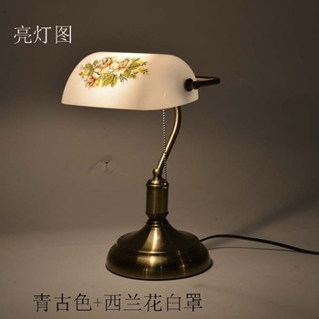 Wholesale bank lamp broccoli white shade desk lamp Republic of China lamp Chinese living room bedroom study desk lamp