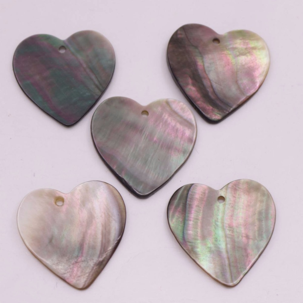 Купить с кэшбэком 5 PCS 25mm Heart Shape Shell Natural Black Mother of Pearl Jewelry Making DIY