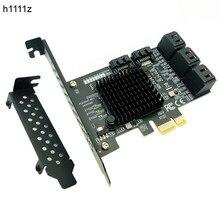 Pcie sata iii 8 portas controlador cartão de expansão pcie 2.0x1 sata 6g com suporte de perfil baixo win10 pcie sata cartão