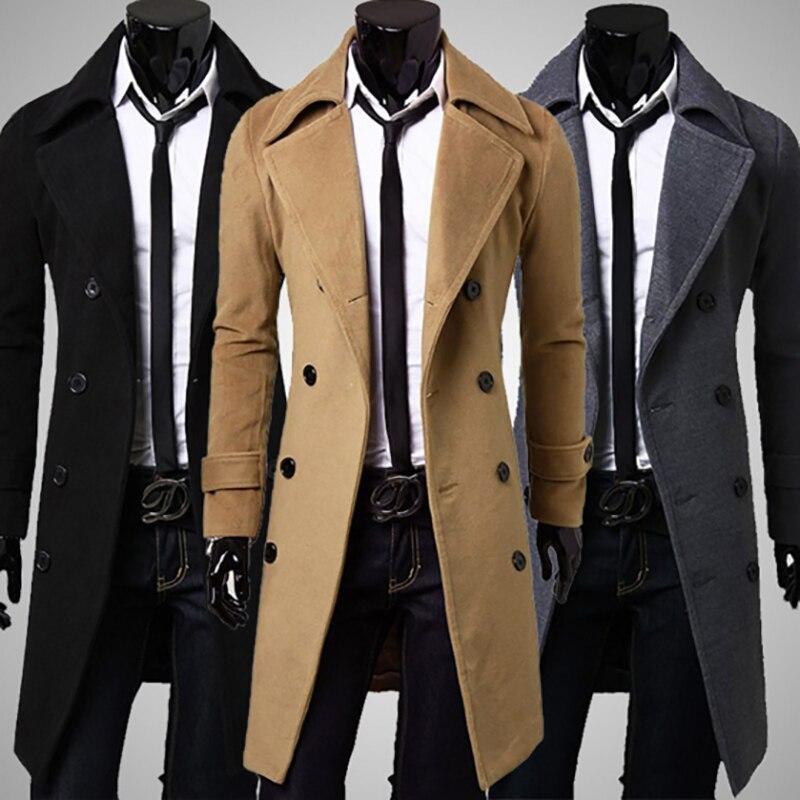 2019 New Winter Woolen Coat Men Leisure Long Sections Woolen Coats Mens Pure Color Casual Fashion Jackets Trench Men Overcoat