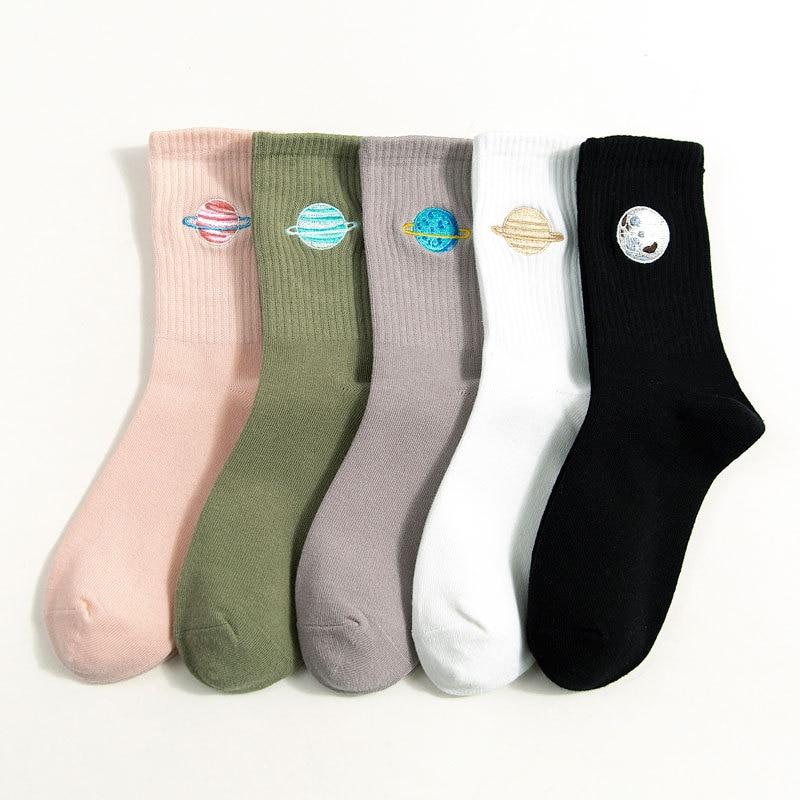 Funny Cute Japanese Harajuku Women Socks Planet Embroidery Long Socks Korean College Women Happy Kawaii Animal Girls Socks Gifts