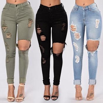 Czarne porwane dżinsy dla kobiet spodnie jeansowe ołówkowe spodnie wysokiej talii Stretch obcisłe dżinsy rurki podarte Jeggings Plus rozmiar dżinsy dla mamy 2020 tanie i dobre opinie Matteobenni COTTON Poliester Pełnej długości Osób w wieku 18-35 lat 2020 Fashion 667A WOMEN Na co dzień Plaid Przycisk fly