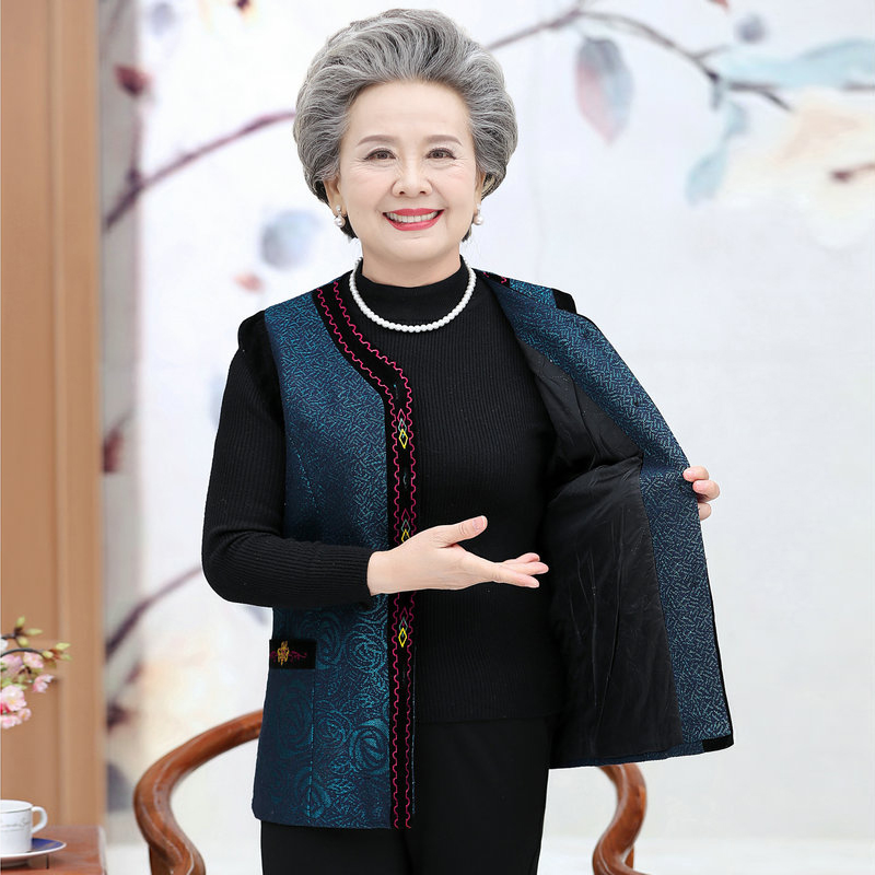 Spring Autumn Chinese Style Padded Vests Elderly Woman V-neck Thicken Quilted Waistcoat Grandma Mother Warm Sleeveless Outerwear