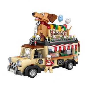 Image 3 - לוז טכני מיני בלוקים רכב רכב דגם אבני בניין מכונית מירוץ מכירה גלידת נקניקיות משאית החינוכי צעצועי מתנות
