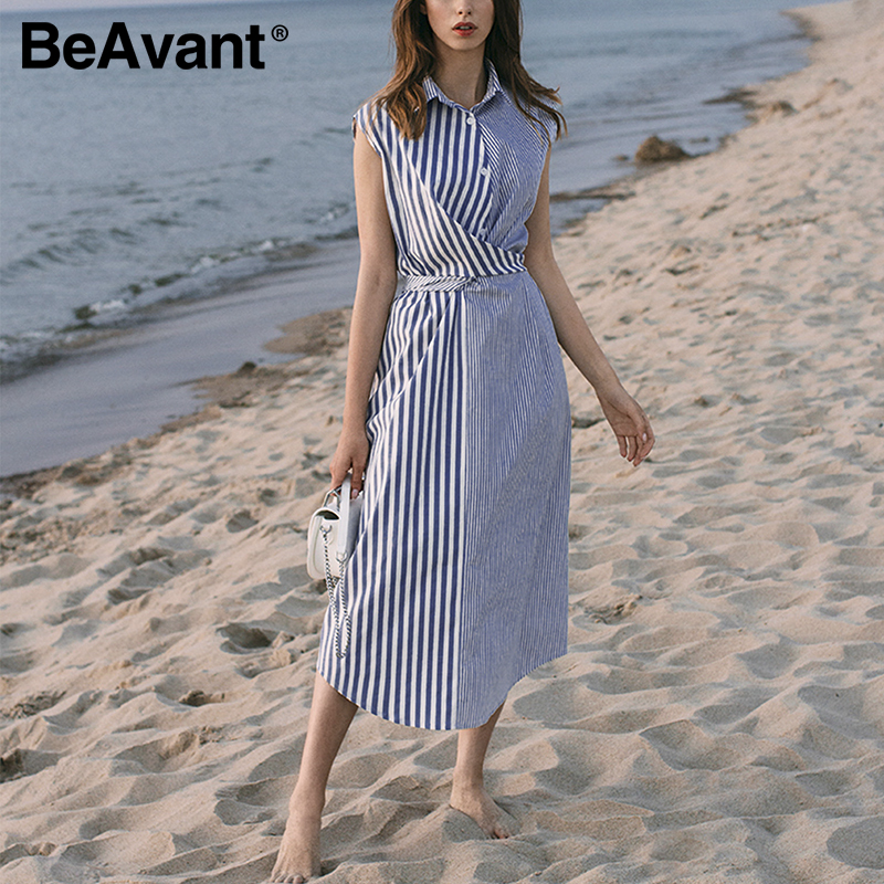 BeAvant New Striped Shirt Dress Women 2020 Office Sleeveless Midi Dress Elegant Female Dresses High Waist Sexy Dress Vestidos