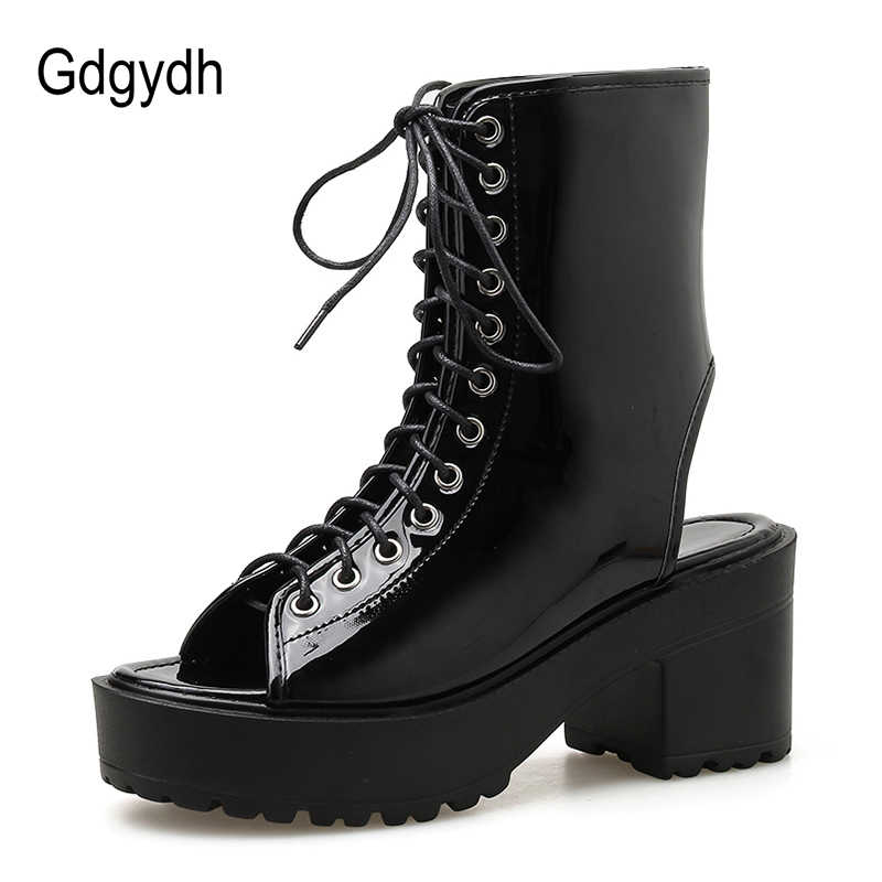 Gdgydh 2020 yeni bahar dantel Up blok topuk yarım çizmeler kadınlar gotik platform ayakkabılar kızlar burnu açık Patent deri rahat