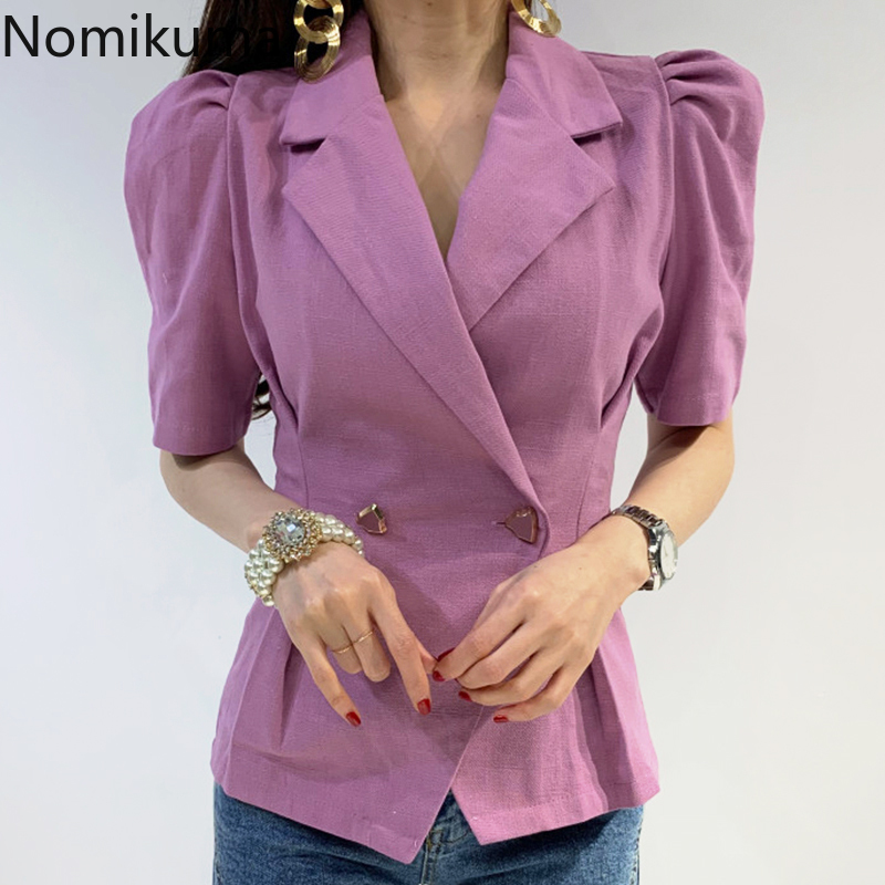 Nomikuma Korean Notched Collar Blazer Coat Half Puff Sleeve Double Breasted Suit Jacket Slim Waist Elegant Bazers Femme 6A450