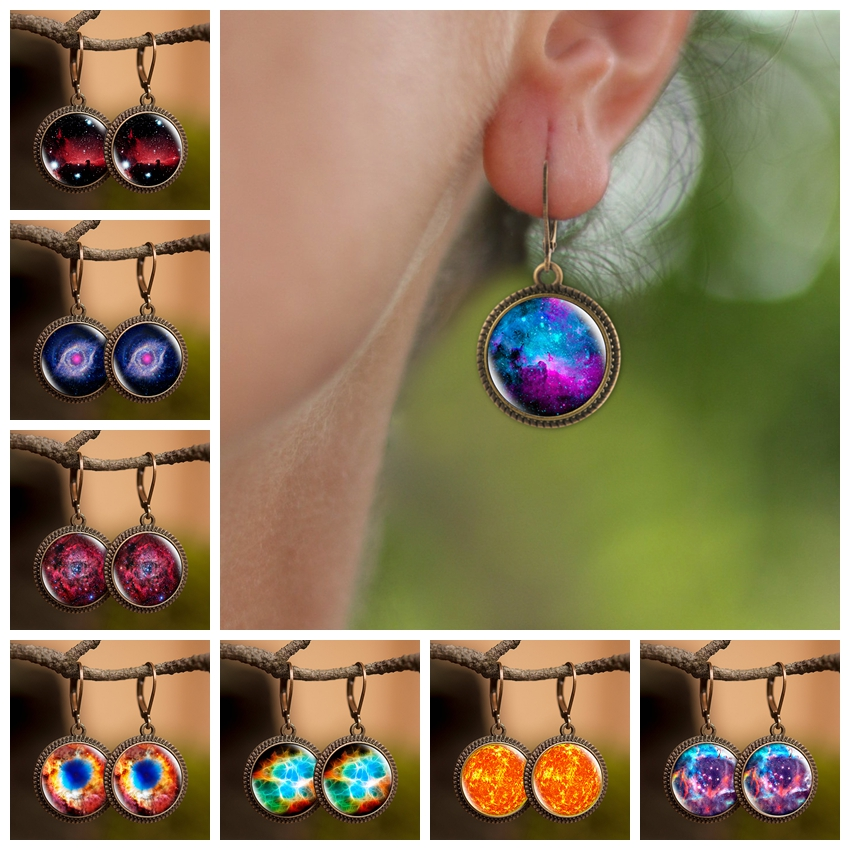 2019 New Arrival Nebula Galaxy Earrings Yellow Sky Dangle Earrings Solar System Space Universe Glass Jewelry Gift for Women