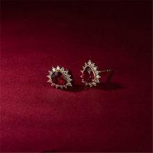 Boucles d'oreilles en argent Sterling 925, incrustées d'or 14k, rubis pour femmes, tempérament coréen, bijoux de mariage, accessoires, cadeaux pour petite amie