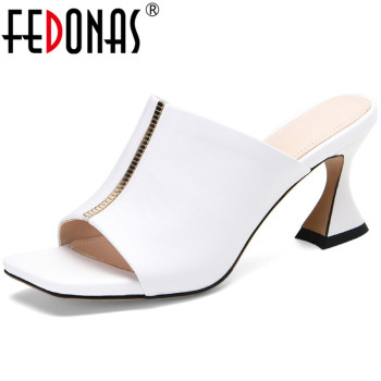 FEDONAS Elegant Fashion Genuine Leather Female Slippers 2020 Summer High Heels Sandals Women Retro Wedding Party Shoes Woman
