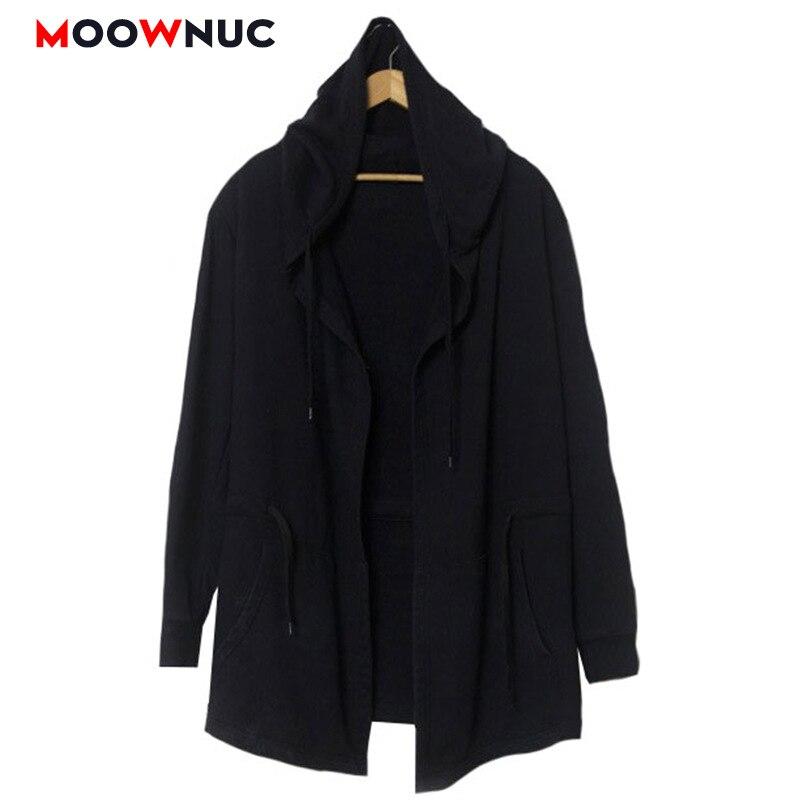 Autumn Overcoat Jackets Black Men   Trench   Windbreaker Cloak Slim Long Solid Fashion Hats   Trench   Coats Hombre Masculino MOOWNUC