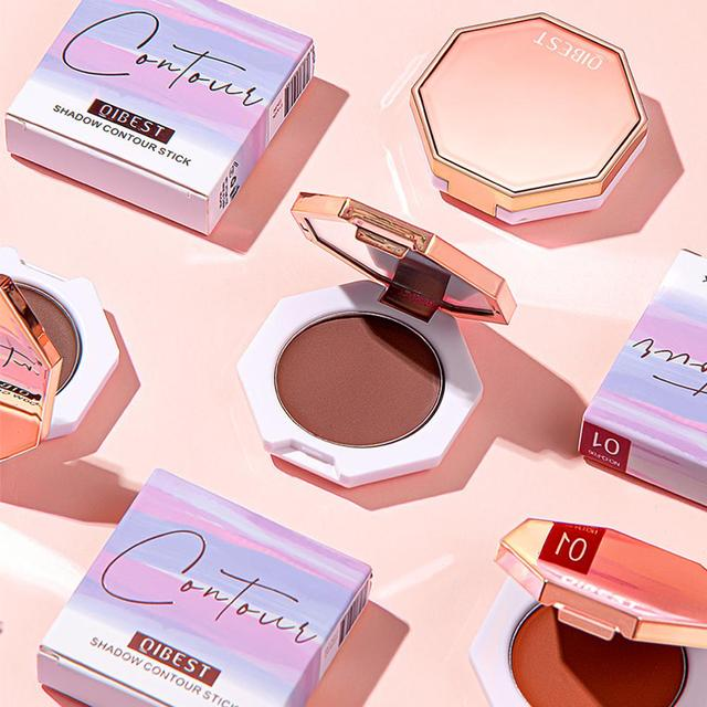 QIBEST Face Makeup Bronzer Palette Cream Silky Contouring Makeup Cosmetic Highlighter Bronzer Palette Makeup Face Illuminator 5