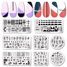 Stencil Plate Flower Striped-Line Nail-Art Pict-You French Stamping Lavender Leaves Stainless-Steel