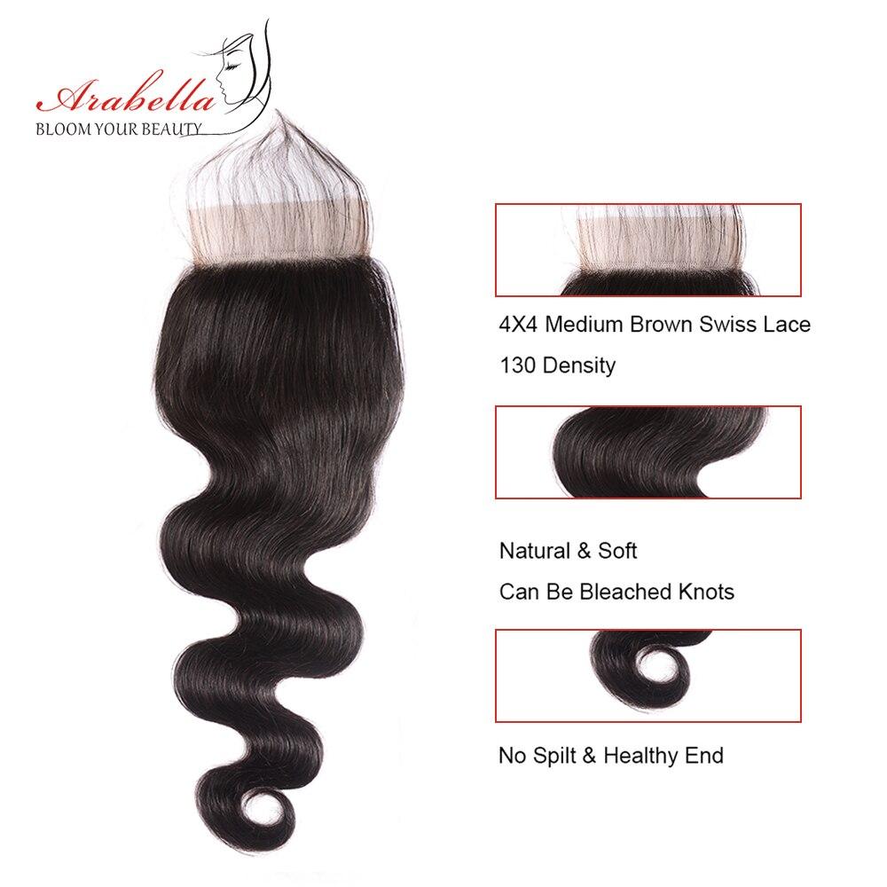 4x4 Transparent Lace Closure With   Bundles  Body Wave Hair 3 Bundles With HD Closure Arabella  Hair 4