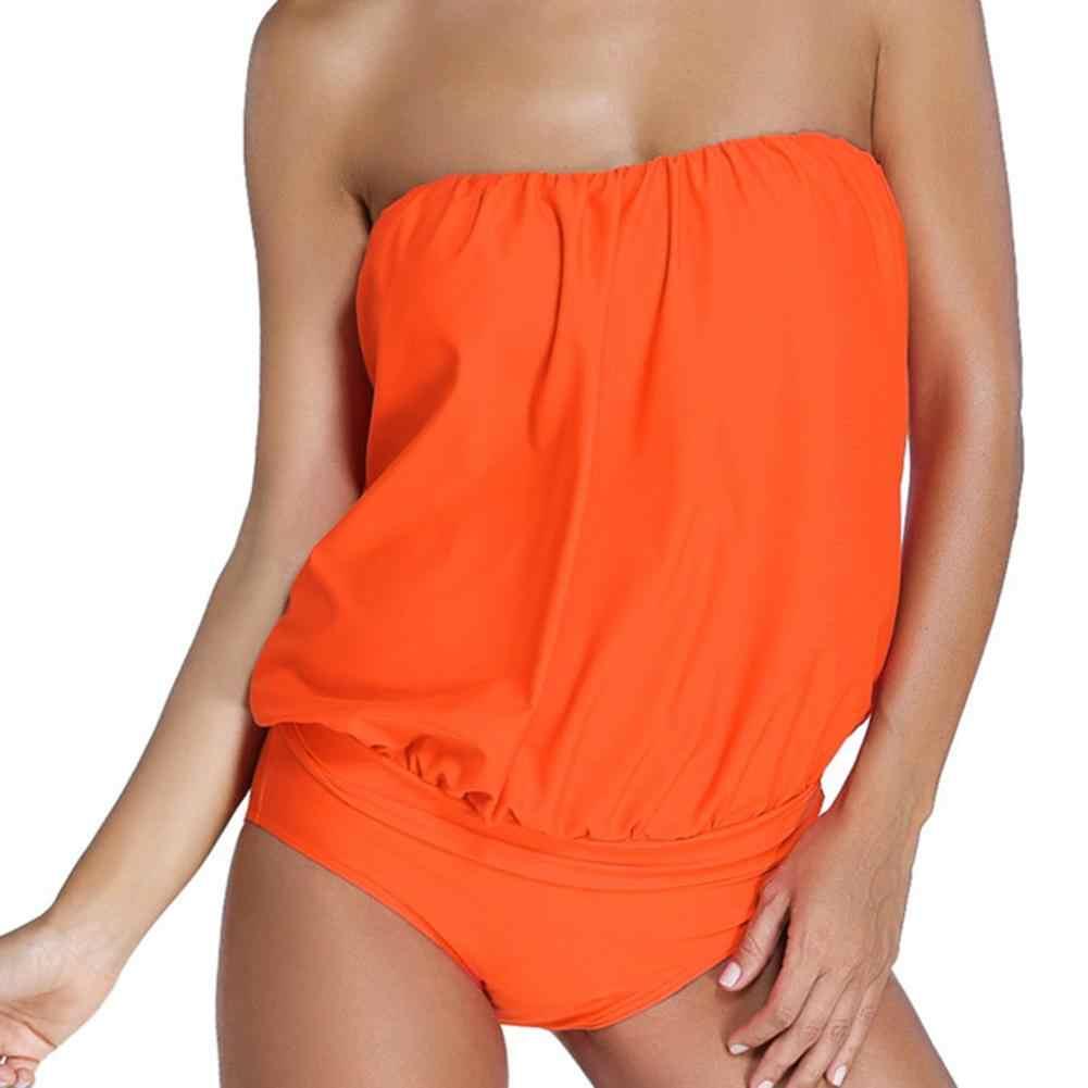 플러스 사이즈 여성 솔리드 컬러 백리스 스트랩리스 비치 원피스 수영복 수영복 백리스 스트랩리스 원피스 수영복 비키니