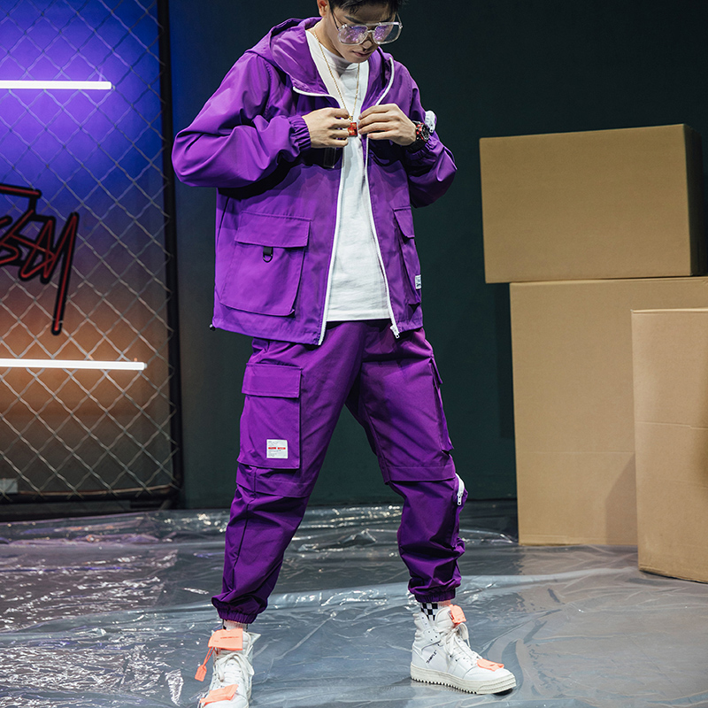 Military Loose Tracksuit Men Purple Casual Zipper Pocket Streetwear Jacket Men Long Sleeve Hip Hop Mens Clothes Set New B60