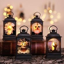 Divertida linterna de luz de Halloween Vintage a prueba de viento eléctrica calabaza luces lámpara de noche de fiesta de día de Halloween decoración para niños