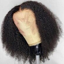 Perruque Lace Frontal Wig sans colle mongole naturelle, cheveux crépus bouclés, Afro, 13x4, pre-plucked, densité 200%