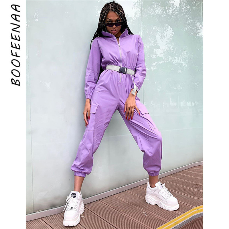 BOOFEENAA Zip Long Sleeve Jumpsuit Buckle Belt Pocket One Piece Romper Women Purple Streetwear Fall Outfits 2019 C70-AG54