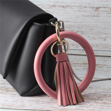 New Fashion Multicolor PU Leather O Key Chain Custom Circle Tassel Wristlet  Keychains Women Girl Ring Jewelry Gifts