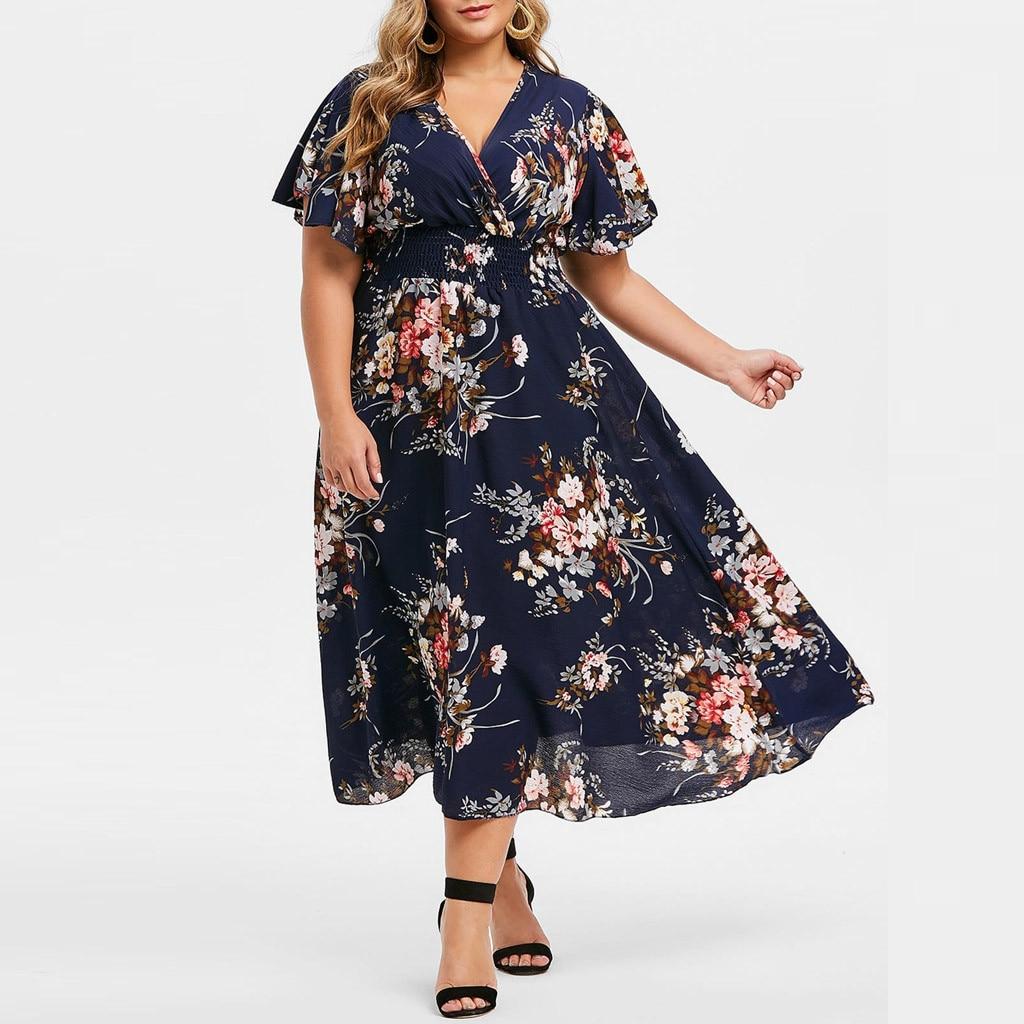 Large Size Women Dress Vintage Floral Printed Tunic Big Swing Dress V-neck High Waist Plus Size Ankle-length Dresses Women #T1G