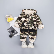 Комплекты детской одежды комплект одежды для маленьких мальчиков, камуфляжное плотное пальто с капюшоном и длинными рукавами Топы+ штаны, осенне-зимняя детская одежда