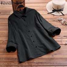 ZANZEA eleganckie bawełniana bluzka na co dzień kobiet koszule wiosna z długim rękawem Blusas kobieta klapy na guziki tunika bluzka w rozmiarze Plus Size koszulka