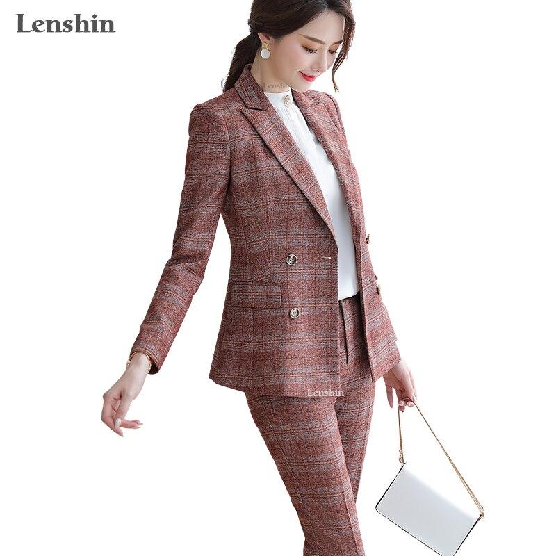 Lenshin High Quality 2 Piece Set Plaid Formal Pant Suit Blazer Office Lady Uniform Designs Women Business Jacket And Pant