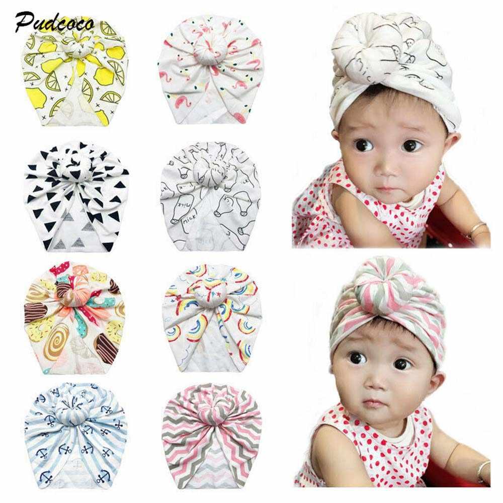 11 لون رضع أطفال فتيات طفل رضيع عمامة معقود Streiped هندسي إكسسوارات أغطية الرأس قبعة قطنية