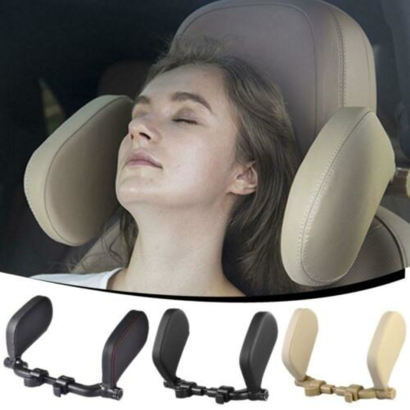 1pc Travel Neck Pillow Leather U-Shape Soft Pillow For Car Headrest ABS Memory Cotton For Most Vehicles With Headrests