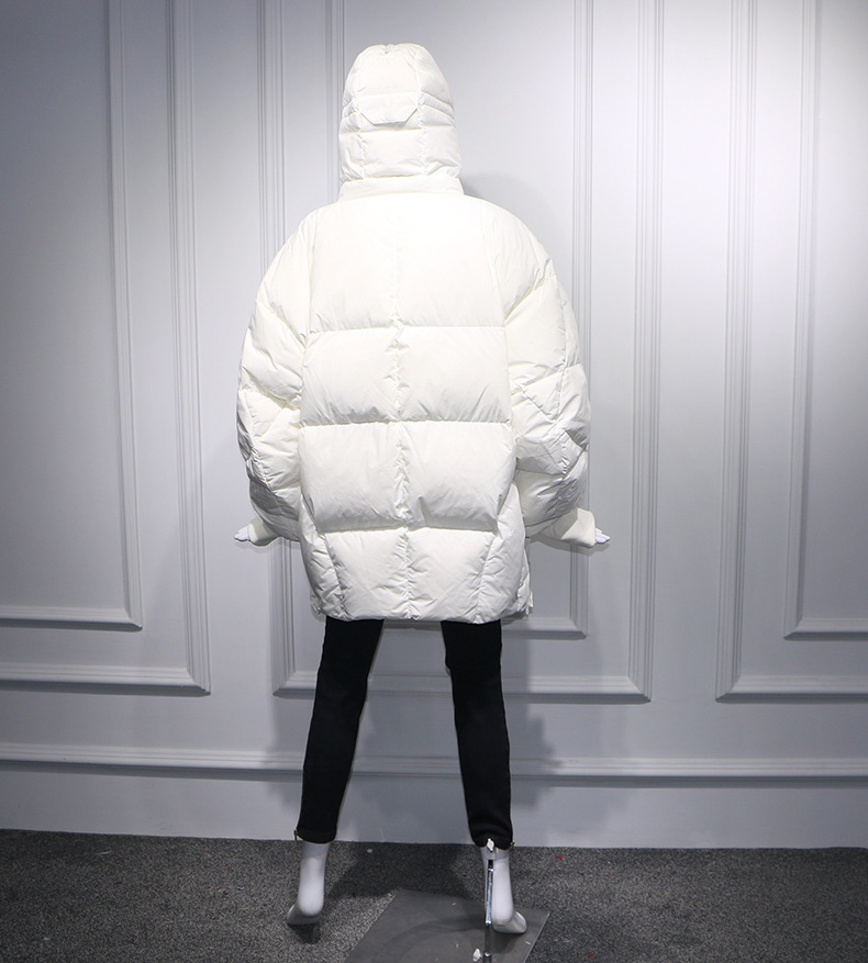 Plus Größe Frauen Jacke Winter Mantel Frauen Lose Parka Gesicht Kappe Kapuze Dicken Parka Weiß Schwarz Lustige Persönlichkeit Alien Mantel XX58 - 5