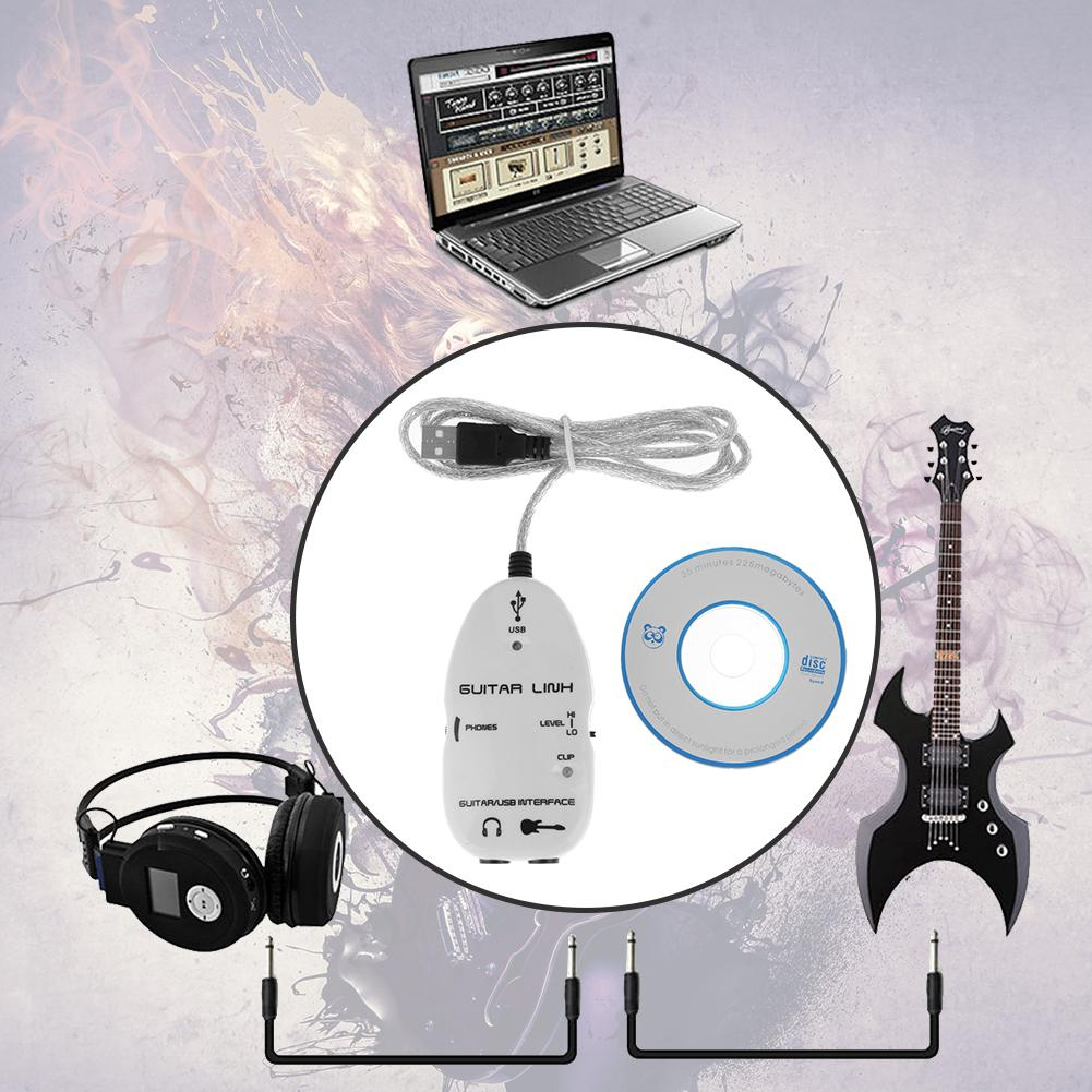 Guitar to USB Sound Player Sound Card Effector Interface Link Audio Cable Music Recording Adapter Support Windows XP/MacOS etc 2