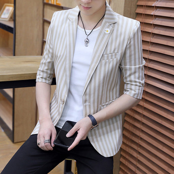 2020 Men's Handsome Half-Sleeve Shirt Striped Suit Youth Slim Casual Single Button Thin blazers