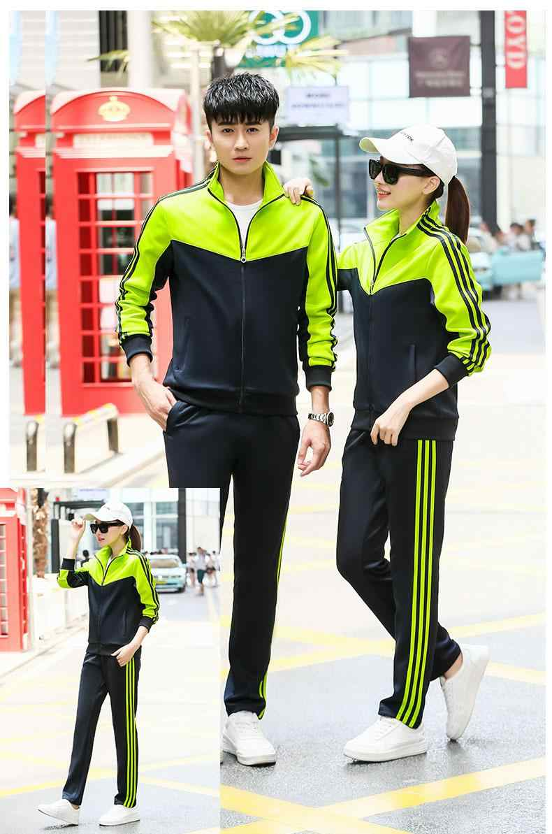 Klasik şerit eşofman kadınlar için rahat spor takım elbise StreetWear fermuar mektup baskı kazak + pantolon 2 için iki parçalı Set kadın