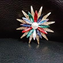 Красочные Броши с кристаллами и подсолнухом для женщин шарфы