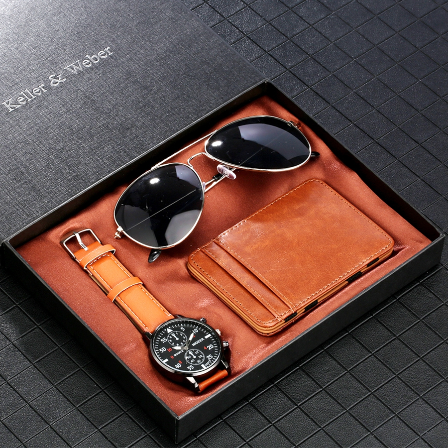Luxury Rose Gold Men's Watch Business Leather Wallet Fashion Sunglasses Sets for Men Unique Souvenir Gifts for Boyfriend Husband 2020 2021 SKMEI WATCHES (5)