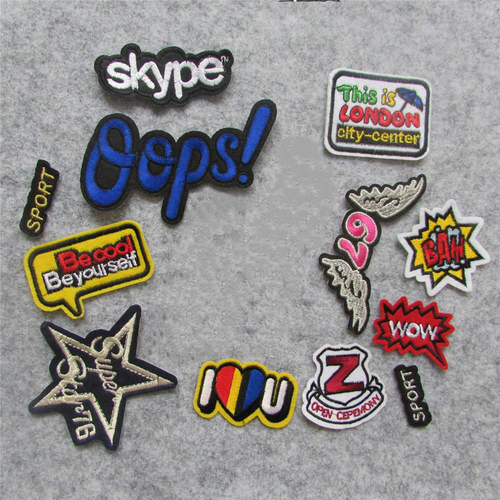 1 Uds. Parche de letras de alta calidad, apliques adhesivos de fusión en caliente, parches bordados, rayas, accesorios de decoración DIY, C163-C426