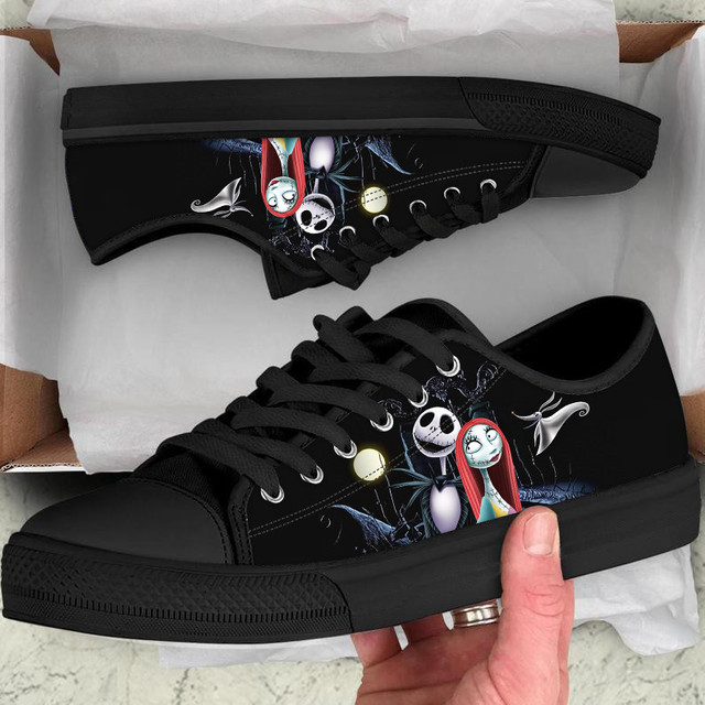 ELVISWORDS Low Style Women Sneakers Nightmare Before Christmas Canvas Vulcanized Casual Ladies Shoes Woman Flats Woman Chaussure