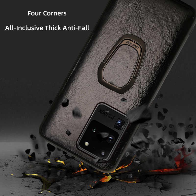 אמיתי שמן שעווה עור טבעת מגנטי טלפון מקרה לסמסונג גלקסי S20 בתוספת S20 Ultra הערה 20 10 S8 S9 s10 בתוספת A50 A51 A71 A70 Note 20 Ultra S10 Lite S10E S8 Plus S7 Edge A70 a30s A20 A40 A30 A50S