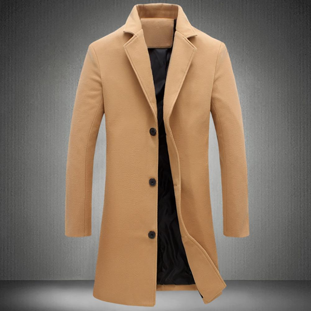 Thickened mens Coats and Jacket Winter Warm Solid Color Woolen Trench Blends Slim Long Coat Outwear Overcoat Men Coats Jackets