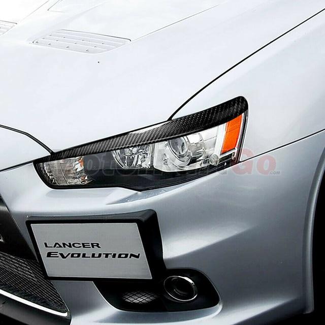 Real Crabon Fiber Head light Eyelid Eyebrow Cover Trim 1pair for Mitsubishi  Lancer EVO X 10 2008-2014 T208 3