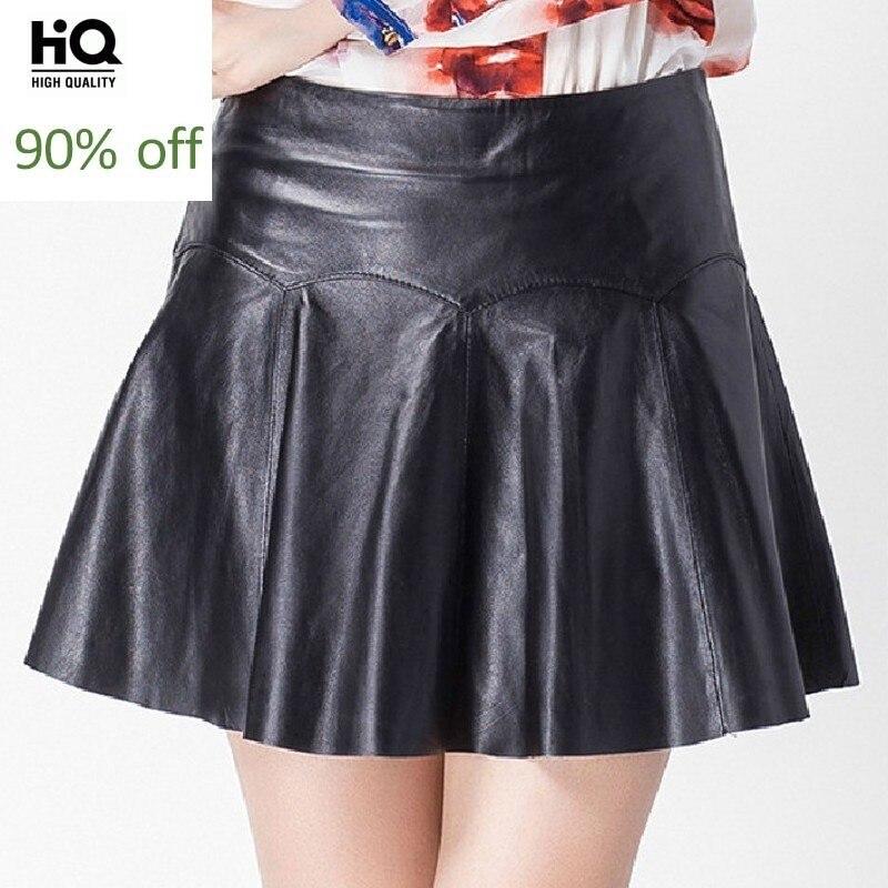 Sexy Club Short Pleated Skirt Women Office Ladies Zipper High Waist Mini Faldas Mujer High Quality Genuine Leather Skirts M-3XL