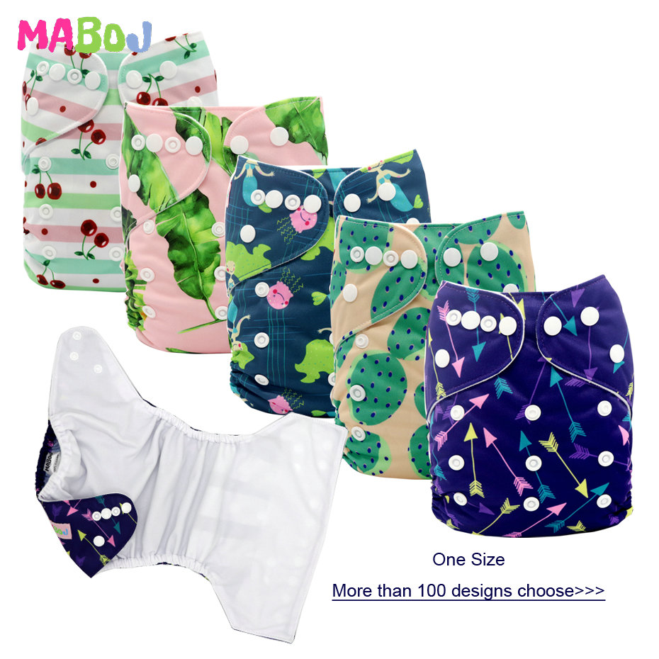 MABOJ Diapers 1pcs Cloth Diapers Baby Pocket Diaper Washable Reusable Nappy Cover Suits Birth To Potty One Size Nappies Inserts