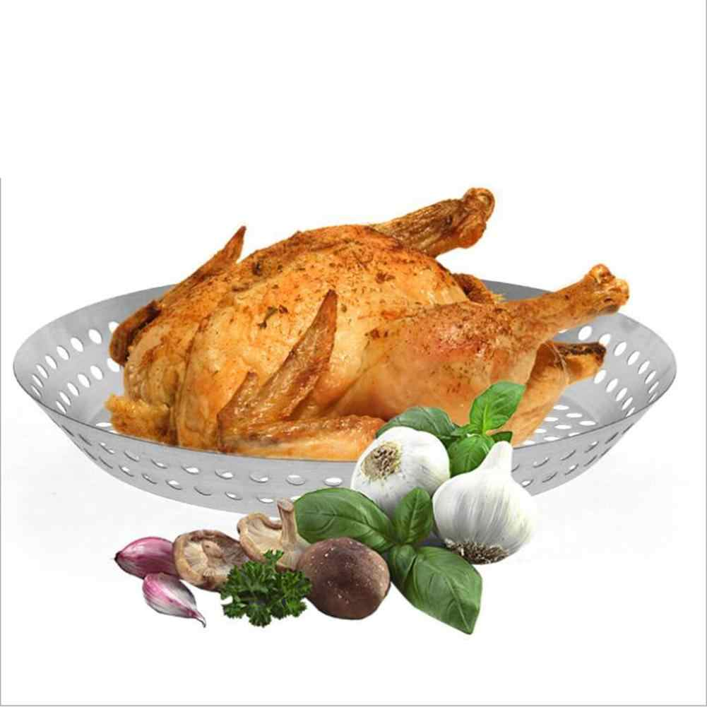 Barbekyu Alat Stainless Steel Panggang Ayam Panggang Panci Bulat Kebocoran Hole Barbecue Pengeringan Net Rak Kebocoran Minyak Penempatan 30E