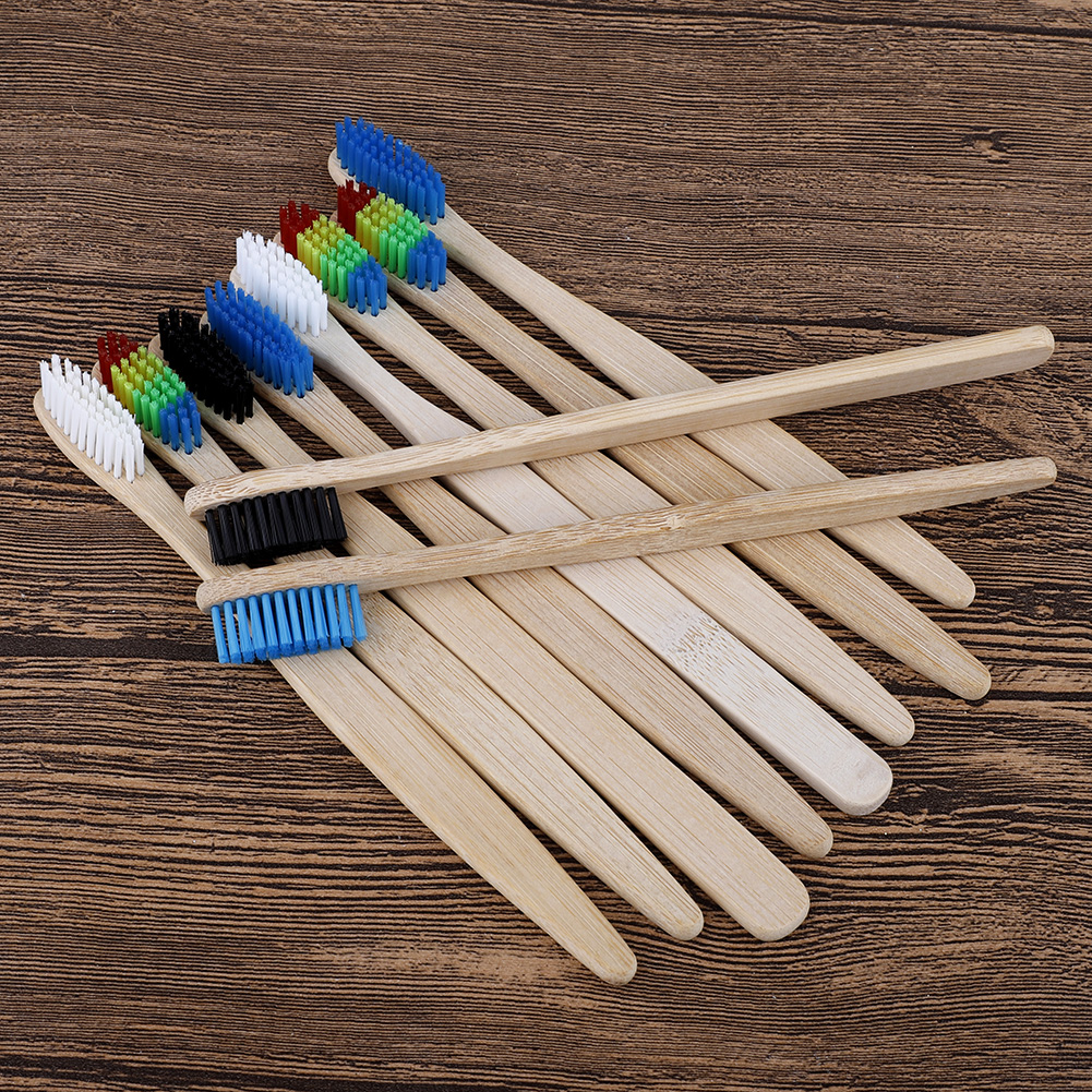 10pcs Eco Friendly Adults Bamboo Toothbrush Medium Hard Bristles Biodegradable Oral Care Multi-color Toothbrushes Set