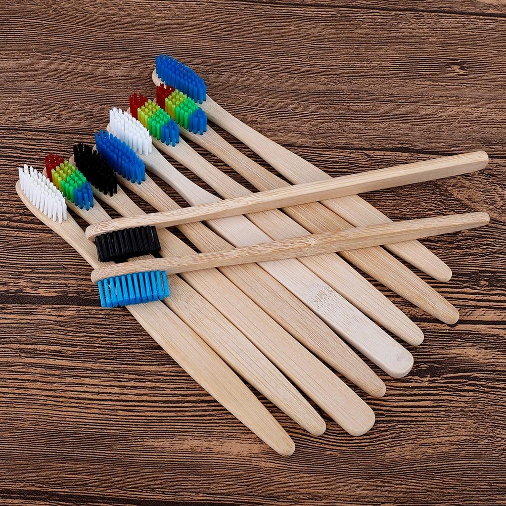 10 шт. Экологичная бамбуковая зубная щетка для взрослых средняя Жесткая Щетина биоразлагаемая уход за полостью рта многоцветная зубная щетк...
